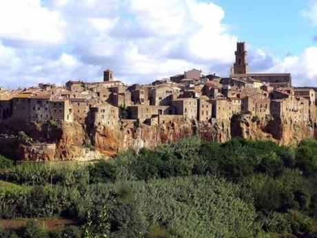 The clifftop village of Pitigliano, adjacent to the Morellino red wine district, is known for its white wines.
